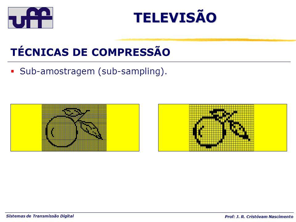 Sistemas de Transmissão Digital Prof: J. R. Cristóvam Nascimento TÉCNICAS DE COMPRESSÃO Sub-amostragem (sub-sampling). TELEVISÃO