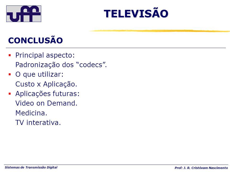 Sistemas de Transmissão Digital Prof: J. R. Cristóvam Nascimento TELEVISÃO CONCLUSÃO Principal aspecto: Padronização dos codecs. O que utilizar: Custo