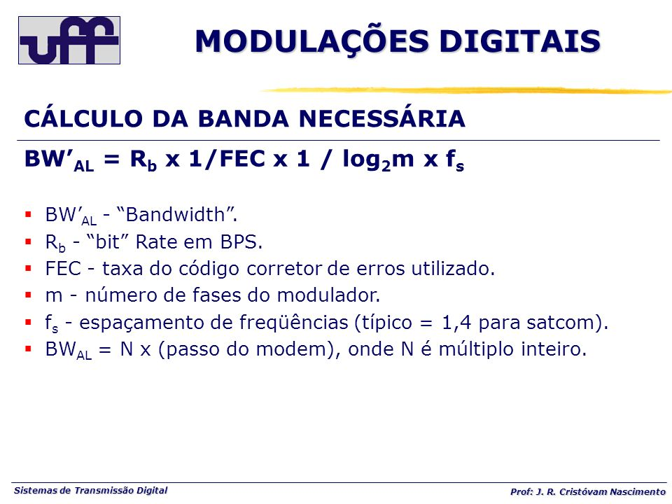 Sistemas de Transmissão Digital Prof: J. R. Cristóvam Nascimento BW AL = R b x 1/FEC x 1 / log 2 m x f s BW AL - Bandwidth. R b - bit Rate em BPS. FEC