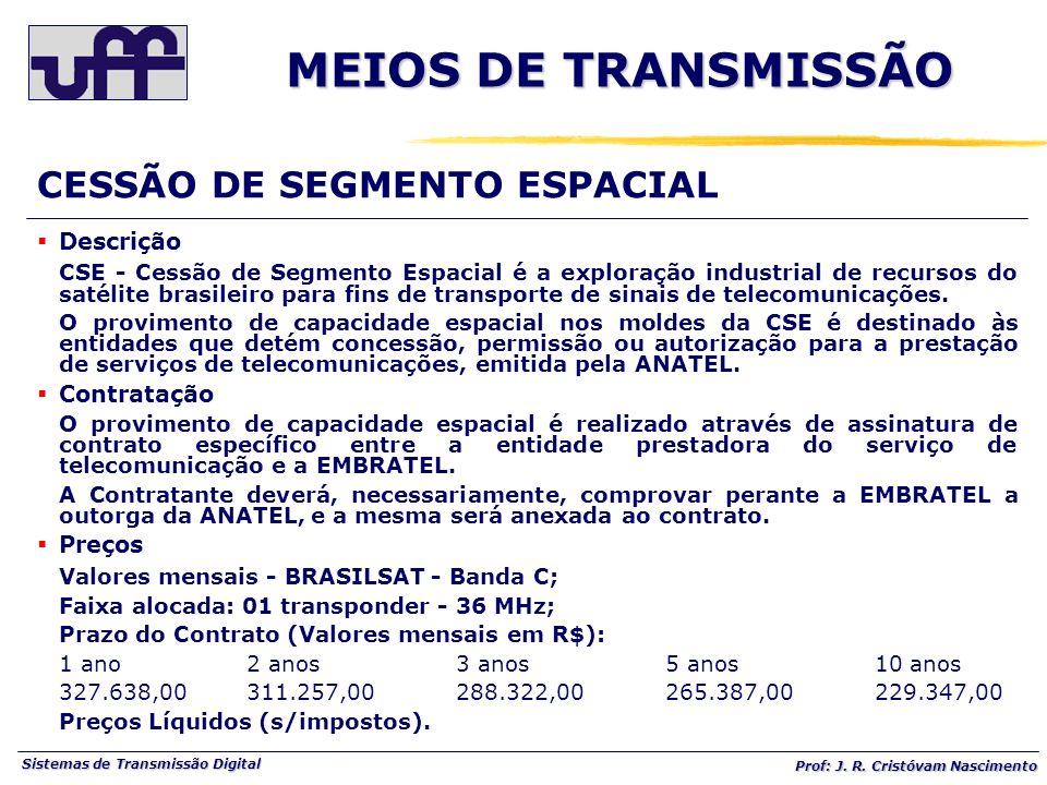 Sistemas de Transmissão Digital Prof: J. R. Cristóvam Nascimento Descrição CSE - Cessão de Segmento Espacial é a exploração industrial de recursos do