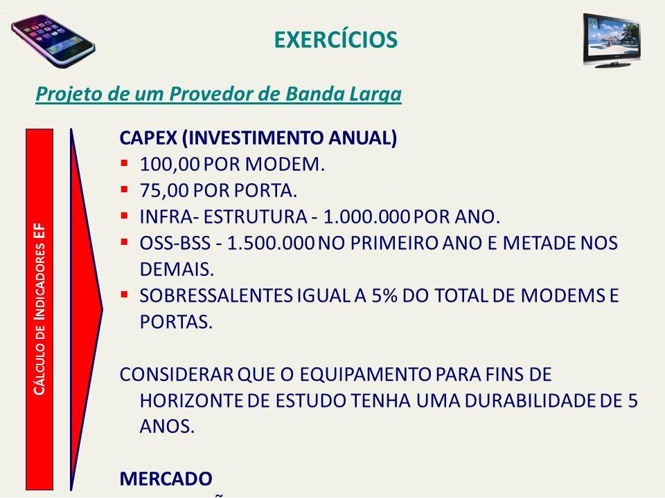 Projeto de um Provedor de Banda Larga C ÁLCULO DE I NDICADORES EF CAPEX (INVESTIMENTO ANUAL) 100,00 POR MODEM. 75,00 POR PORTA. INFRA- ESTRUTURA - 1.0
