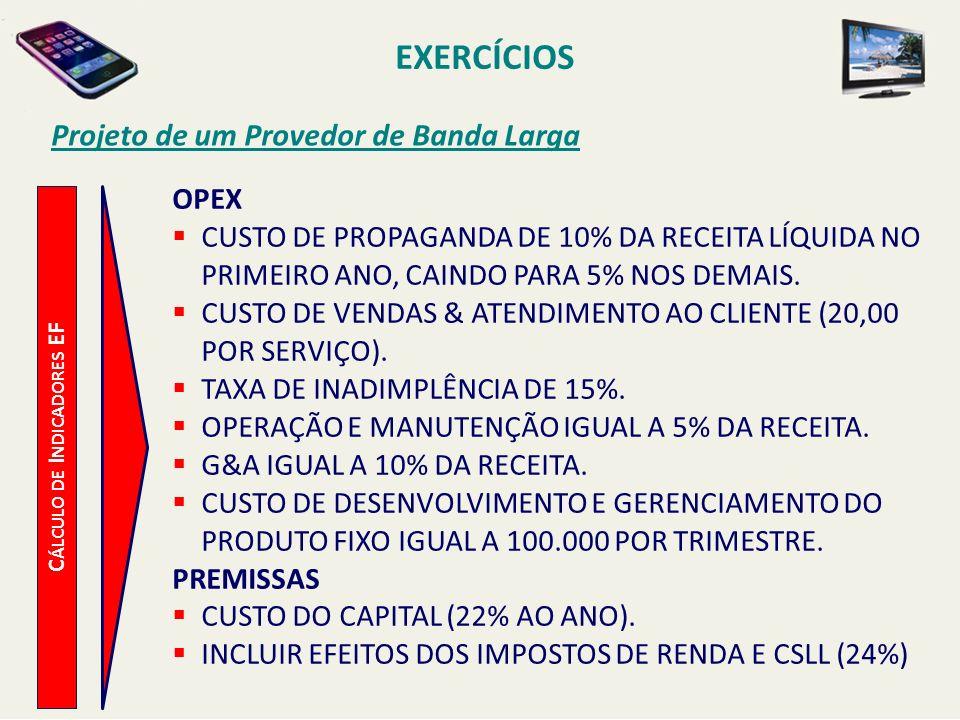 EXERCÍCIOS Projeto de um Provedor de Banda Larga C ÁLCULO DE I NDICADORES EF OPEX CUSTO DE PROPAGANDA DE 10% DA RECEITA LÍQUIDA NO PRIMEIRO ANO, CAIND