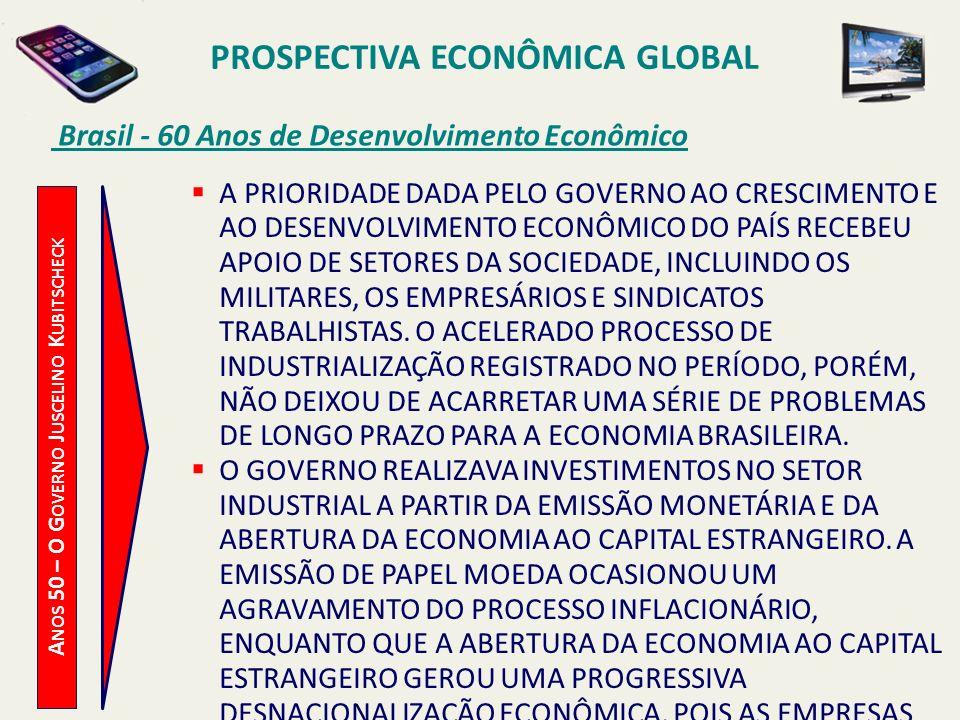 PROSPECTIVA ECONÔMICA GLOBAL Brasil - 60 Anos de Desenvolvimento Econômico A NOS 50 – O G OVERNO J USCELINO K UBITSCHECK A PRIORIDADE DADA PELO GOVERN