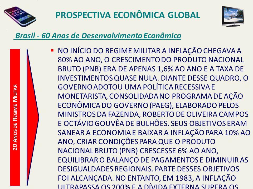 PROSPECTIVA ECONÔMICA GLOBAL Brasil - 60 Anos de Desenvolvimento Econômico 20 A NOS DE R EGIME M ILITAR NO INÍCIO DO REGIME MILITAR A INFLAÇÃO CHEGAVA