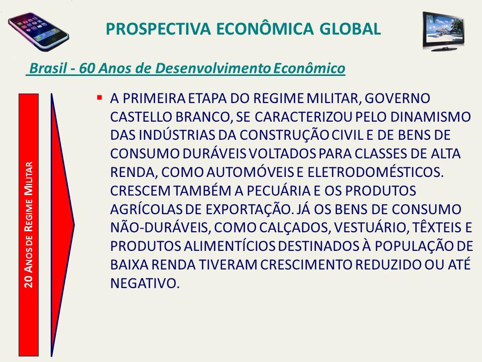 PROSPECTIVA ECONÔMICA GLOBAL Brasil - 60 Anos de Desenvolvimento Econômico 20 A NOS DE R EGIME M ILITAR A PRIMEIRA ETAPA DO REGIME MILITAR, GOVERNO CA