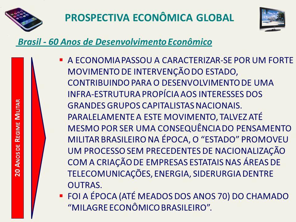 PROSPECTIVA ECONÔMICA GLOBAL Brasil - 60 Anos de Desenvolvimento Econômico 20 A NOS DE R EGIME M ILITAR A ECONOMIA PASSOU A CARACTERIZAR-SE POR UM FOR