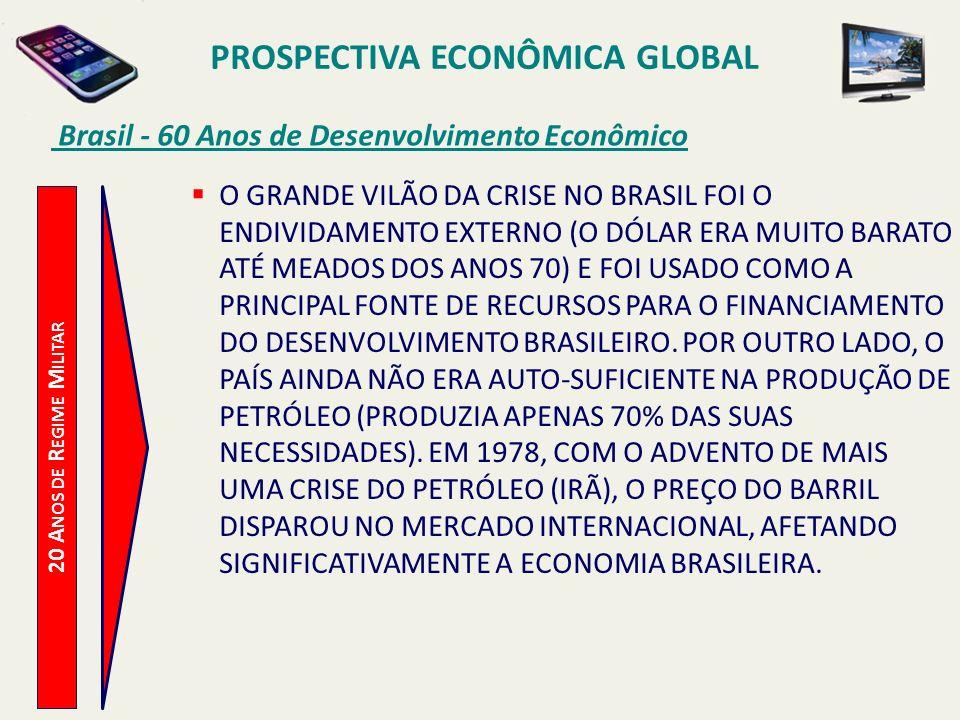 PROSPECTIVA ECONÔMICA GLOBAL Brasil - 60 Anos de Desenvolvimento Econômico 20 A NOS DE R EGIME M ILITAR O GRANDE VILÃO DA CRISE NO BRASIL FOI O ENDIVI