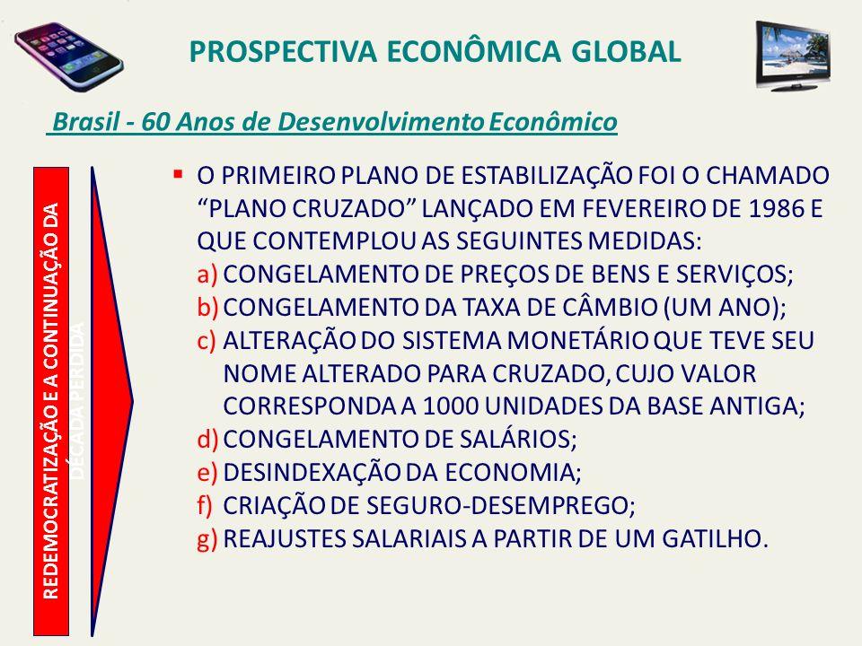 PROSPECTIVA ECONÔMICA GLOBAL Brasil - 60 Anos de Desenvolvimento Econômico REDEMOCRATIZAÇÃO E A CONTINUAÇÃO DA DÉCADA PERDIDA O PRIMEIRO PLANO DE ESTA