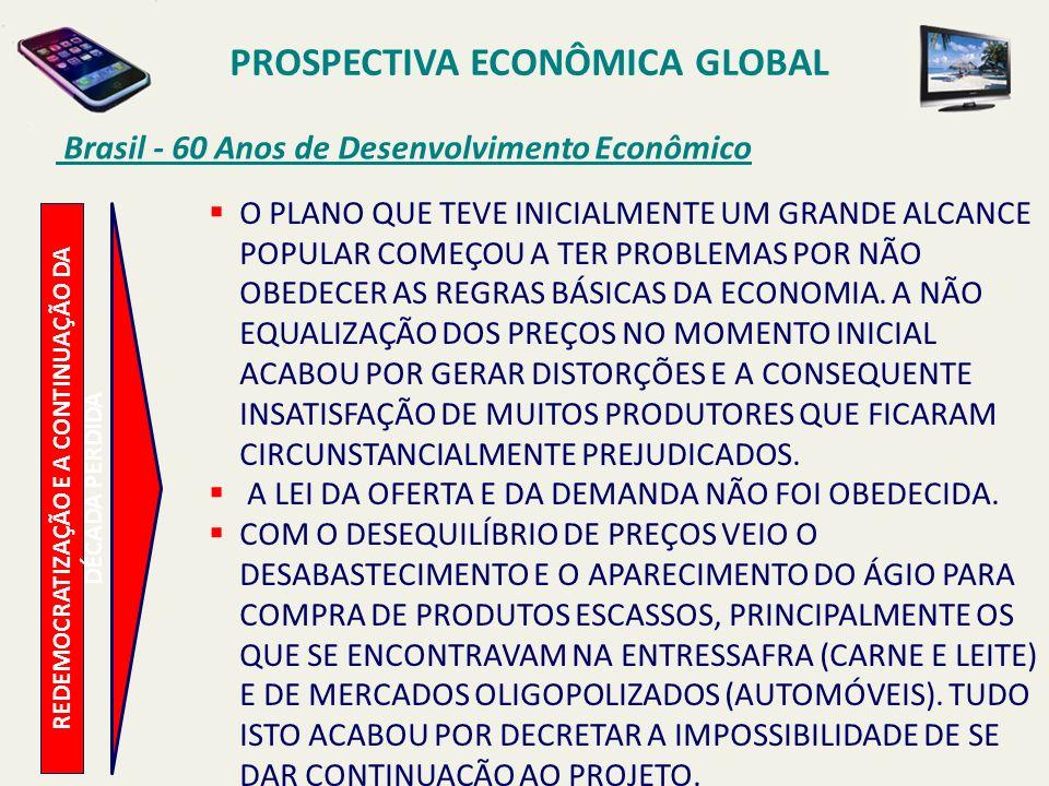 PROSPECTIVA ECONÔMICA GLOBAL Brasil - 60 Anos de Desenvolvimento Econômico REDEMOCRATIZAÇÃO E A CONTINUAÇÃO DA DÉCADA PERDIDA O PLANO QUE TEVE INICIAL