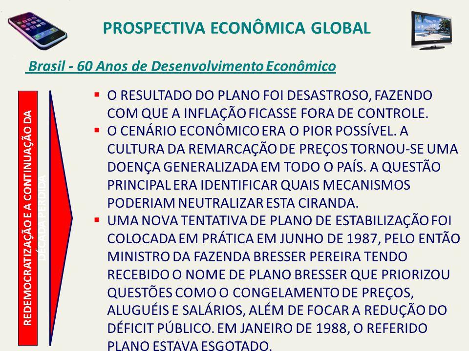 PROSPECTIVA ECONÔMICA GLOBAL Brasil - 60 Anos de Desenvolvimento Econômico REDEMOCRATIZAÇÃO E A CONTINUAÇÃO DA DÉCADA PERDIDA O RESULTADO DO PLANO FOI
