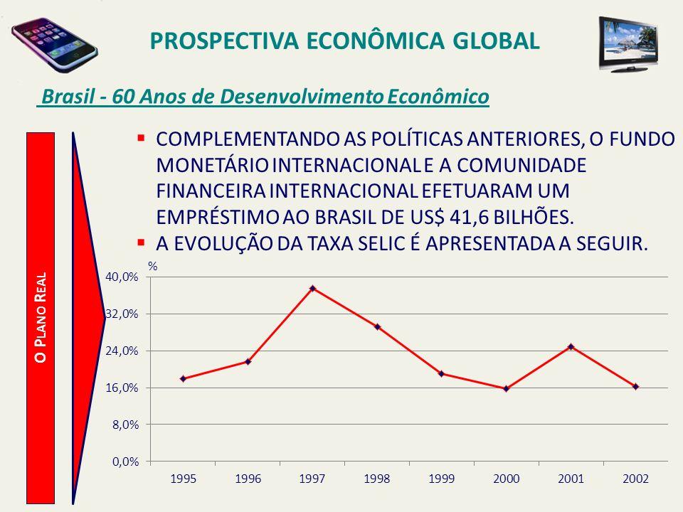 PROSPECTIVA ECONÔMICA GLOBAL Brasil - 60 Anos de Desenvolvimento Econômico O P LANO R EAL COMPLEMENTANDO AS POLÍTICAS ANTERIORES, O FUNDO MONETÁRIO IN