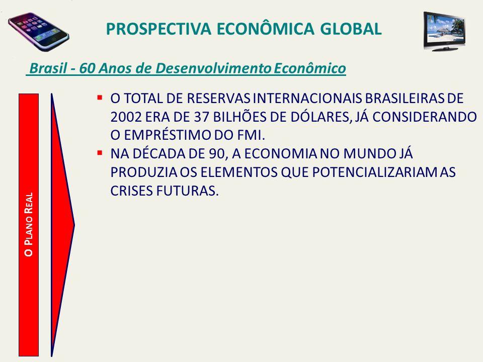 PROSPECTIVA ECONÔMICA GLOBAL Brasil - 60 Anos de Desenvolvimento Econômico O P LANO R EAL O TOTAL DE RESERVAS INTERNACIONAIS BRASILEIRAS DE 2002 ERA D