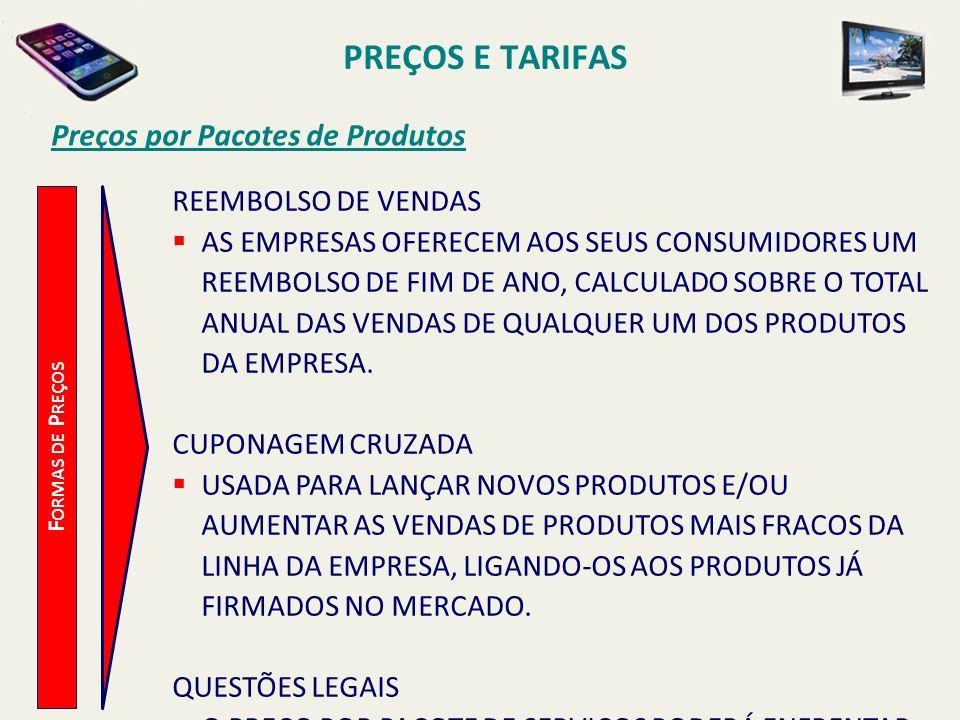 PREÇOS E TARIFAS Preços por Pacotes de Produtos F ORMAS DE P REÇOS REEMBOLSO DE VENDAS AS EMPRESAS OFERECEM AOS SEUS CONSUMIDORES UM REEMBOLSO DE FIM