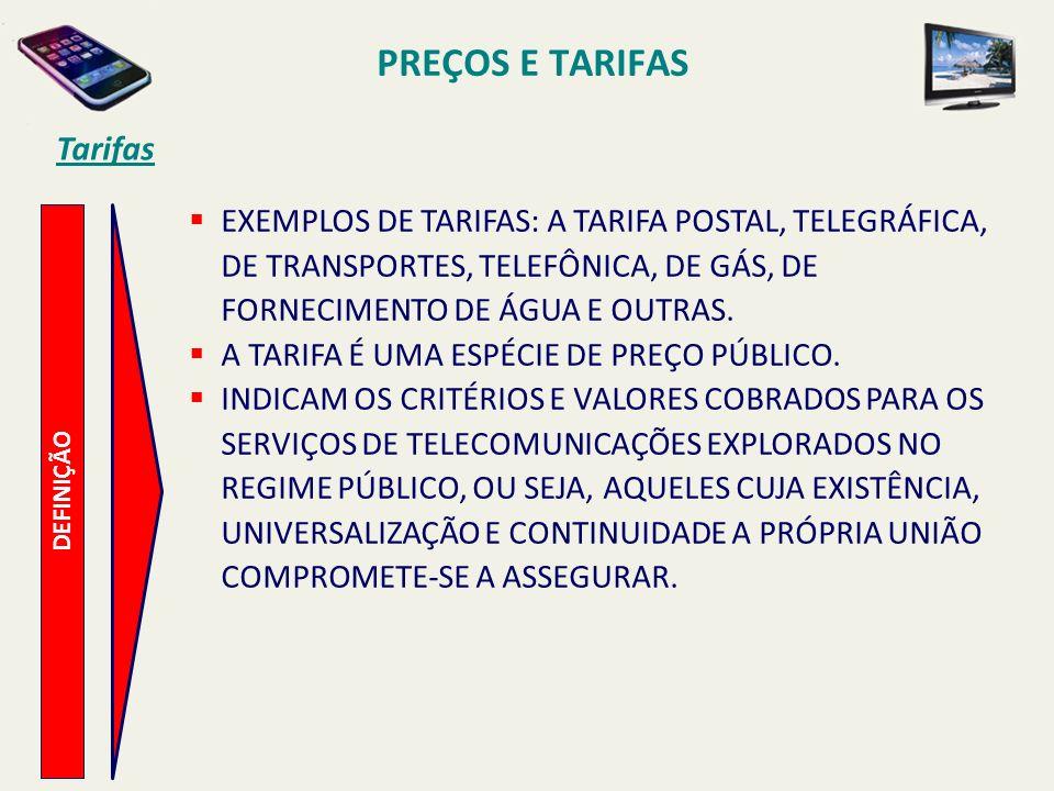 PREÇOS E TARIFAS Tarifas DEFINIÇÃO EXEMPLOS DE TARIFAS: A TARIFA POSTAL, TELEGRÁFICA, DE TRANSPORTES, TELEFÔNICA, DE GÁS, DE FORNECIMENTO DE ÁGUA E OU
