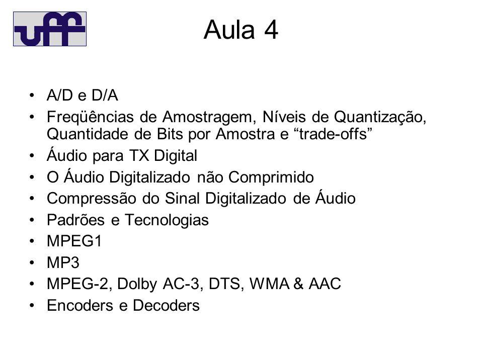 Aula 4 A/D e D/A Freqüências de Amostragem, Níveis de Quantização, Quantidade de Bits por Amostra e trade-offs Áudio para TX Digital O Áudio Digitalizado não Comprimido Compressão do Sinal Digitalizado de Áudio Padrões e Tecnologias MPEG1 MP3 MPEG-2, Dolby AC-3, DTS, WMA & AAC Encoders e Decoders