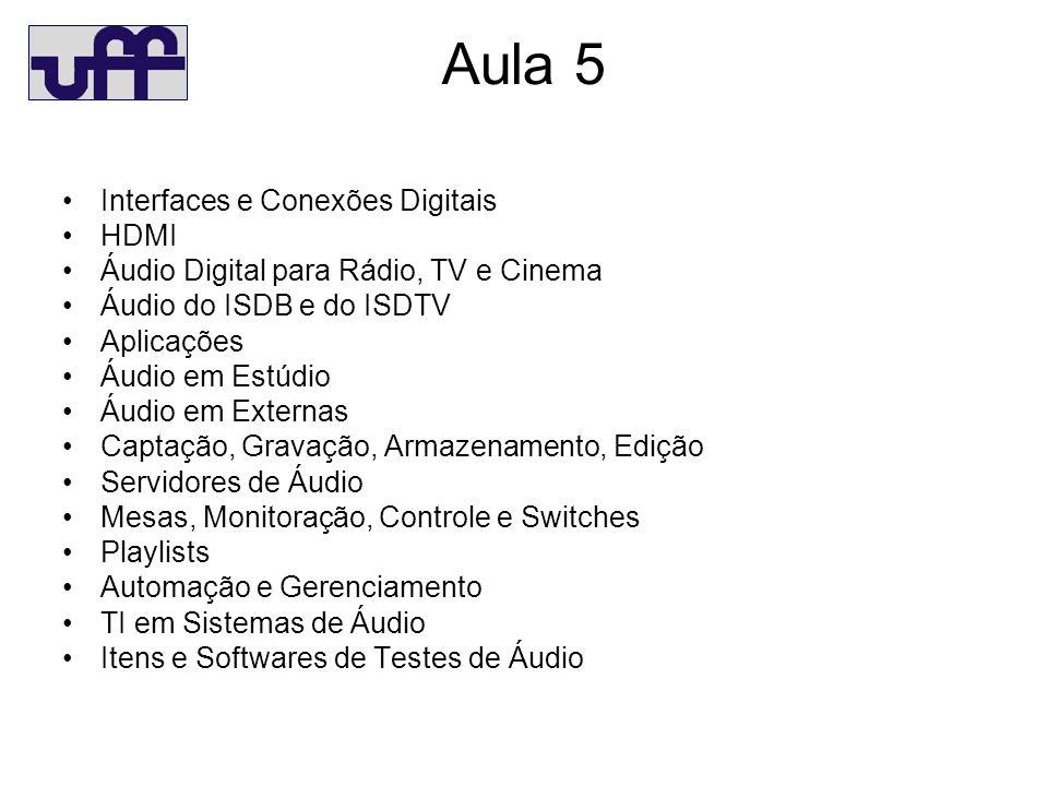 Aula 5 Interfaces e Conexões Digitais HDMI Áudio Digital para Rádio, TV e Cinema Áudio do ISDB e do ISDTV Aplicações Áudio em Estúdio Áudio em Externas Captação, Gravação, Armazenamento, Edição Servidores de Áudio Mesas, Monitoração, Controle e Switches Playlists Automação e Gerenciamento TI em Sistemas de Áudio Itens e Softwares de Testes de Áudio
