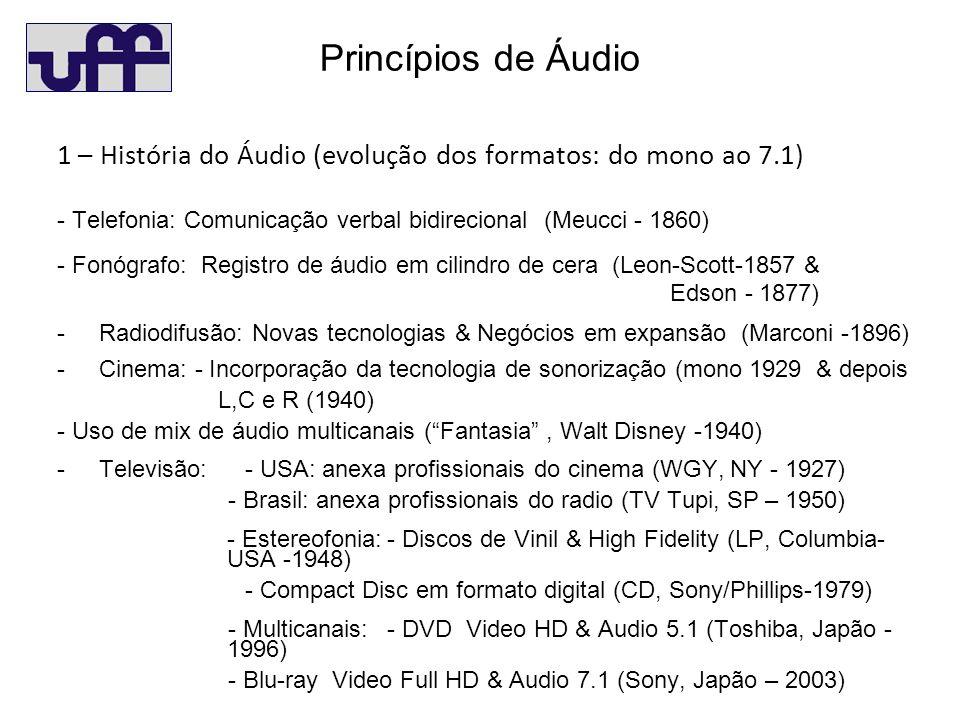 Princípios de Áudio 1 – História do Áudio (evolução dos formatos: do mono ao 7.1) - Telefonia: Comunicação verbal bidirecional (Meucci - 1860) - Fonógrafo: Registro de áudio em cilindro de cera (Leon-Scott-1857 & Edson - 1877) - Radiodifusão: Novas tecnologias & Negócios em expansão (Marconi -1896) - Cinema: - Incorporação da tecnologia de sonorização (mono 1929 & depois L,C e R (1940) - Uso de mix de áudio multicanais (Fantasia, Walt Disney -1940) - Televisão: - USA: anexa profissionais do cinema (WGY, NY - 1927) - Brasil: anexa profissionais do radio (TV Tupi, SP – 1950) - Estereofonia:- Discos de Vinil & High Fidelity (LP, Columbia- USA -1948) - Compact Disc em formato digital (CD, Sony/Phillips-1979) - Multicanais: - DVD Video HD & Audio 5.1 (Toshiba, Japão - 1996) - Blu-ray Video Full HD & Audio 7.1 (Sony, Japão – 2003)