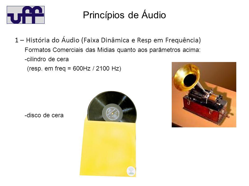 Princípios de Áudio 1 – História do Áudio (Faixa Dinâmica e Resp em Frequência) Formatos Comerciais das Midias quanto aos parâmetros acima: -cilindro de cera (resp.