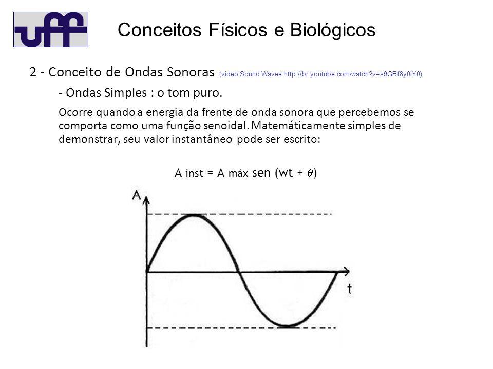 Conceitos Físicos e Biológicos 2 - Conceito de Ondas Sonoras (video Sound Waves http://br.youtube.com/watch?v=s9GBf8y0lY0) - Ondas Simples : o tom puro.