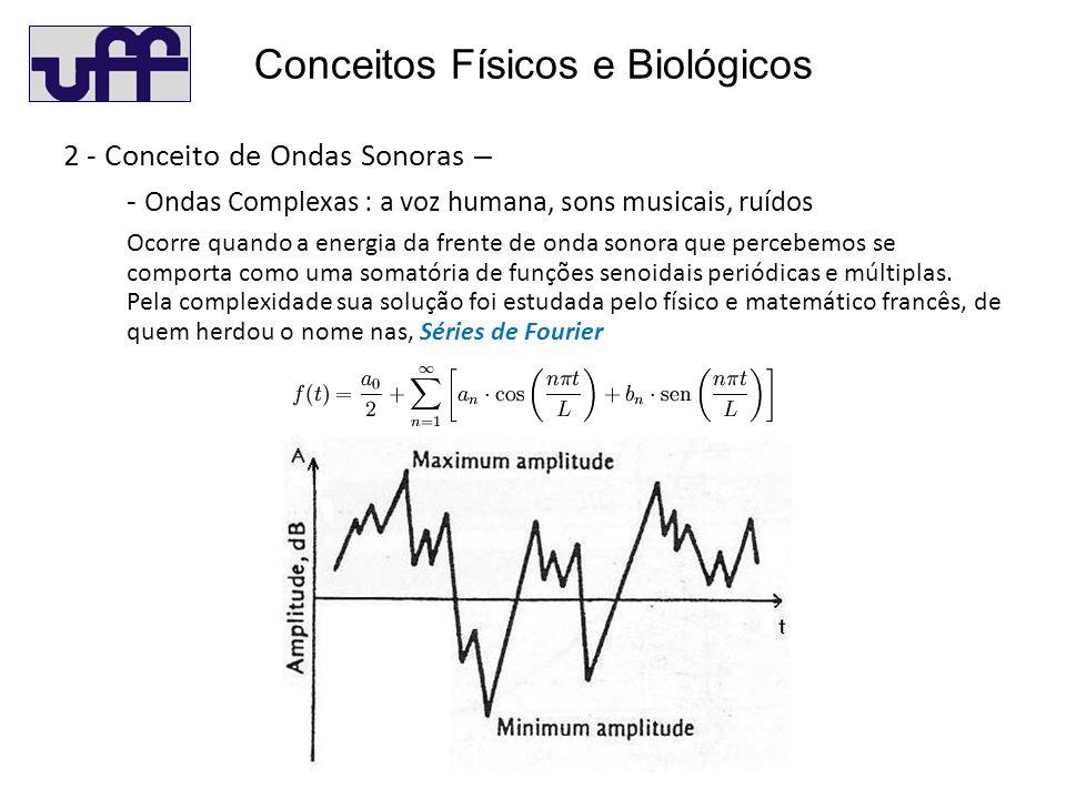 Conceitos Físicos e Biológicos 2 - Conceito de Ondas Sonoras – - Ondas Complexas : a voz humana, sons musicais, ruídos Ocorre quando a energia da frente de onda sonora que percebemos se comporta como uma somatória de funções senoidais periódicas e múltiplas.
