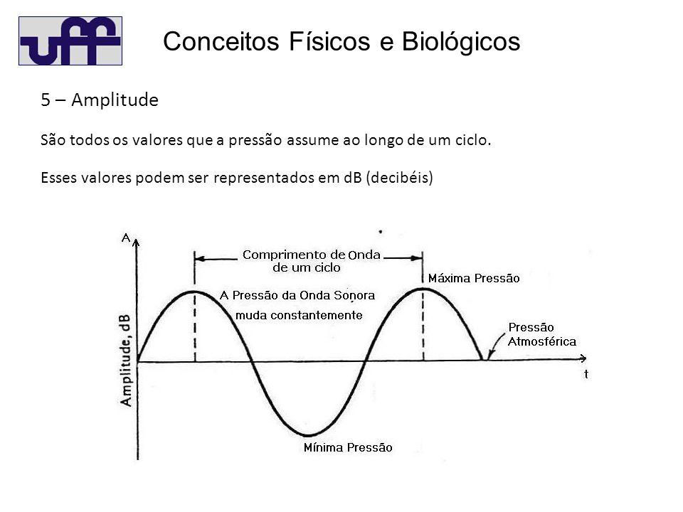 Conceitos Físicos e Biológicos 5 – Amplitude São todos os valores que a pressão assume ao longo de um ciclo.