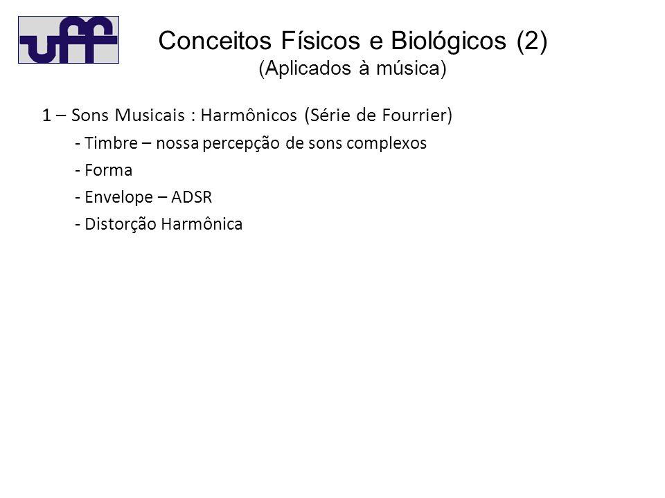 Co(2) 1 – Sons Musicais : Harmônicos (Série de Fourrier) - Timbre – nossa percepção de sons complexos - Forma - Envelope – ADSR - Distorção Harmônica Conceitos Físicos e Biológicos (2) (Aplicados à música)