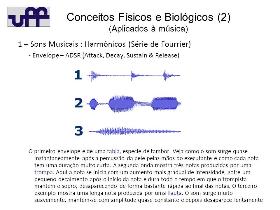 Concei (2) 1 – Sons Musicais : Harmônicos (Série de Fourrier) - Envelope – ADSR (Attack, Decay, Sustain & Release) O primeiro envelope é de uma tabla, espécie de tambor.
