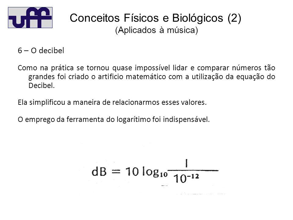Co (2) 6 – O decibel Como na prática se tornou quase impossível lidar e comparar números tão grandes foi criado o artificio matemático com a utilização da equação do Decibel.