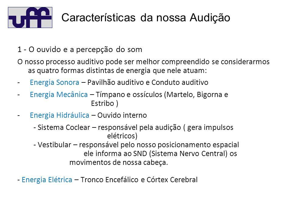1 - O ouvido e a percepção do som O nosso processo auditivo pode ser melhor compreendido se considerarmos as quatro formas distintas de energia que nele atuam: - Energia Sonora – Pavilhão auditivo e Conduto auditivo - Energia Mecânica – Tímpano e ossículos (Martelo, Bigorna e Estribo ) - Energia Hidráulica – Ouvido interno - Sistema Coclear – responsável pela audição ( gera impulsos elétricos) - Vestibular – responsável pelo nosso posicionamento espacial ele informa ao SND (Sistema Nervo Central) os movimentos de nossa cabeça.