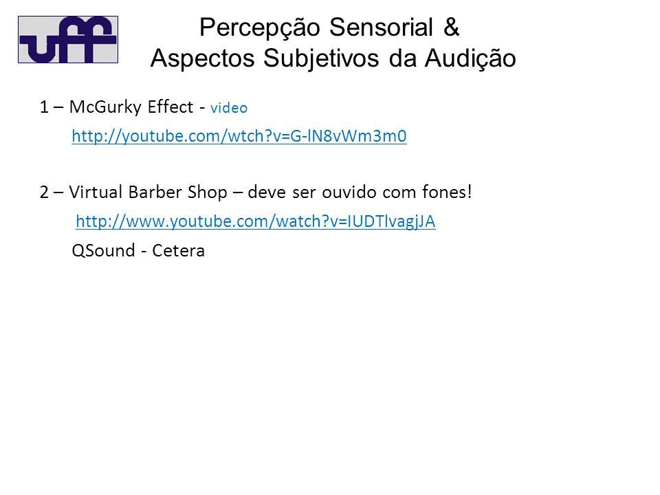 Percepção Sensorial & Aspectos Subjetivos da Audição 1 – McGurky Effect - video http://youtube.com/wtch?v=G-lN8vWm3m0 2 – Virtual Barber Shop – deve ser ouvido com fones.