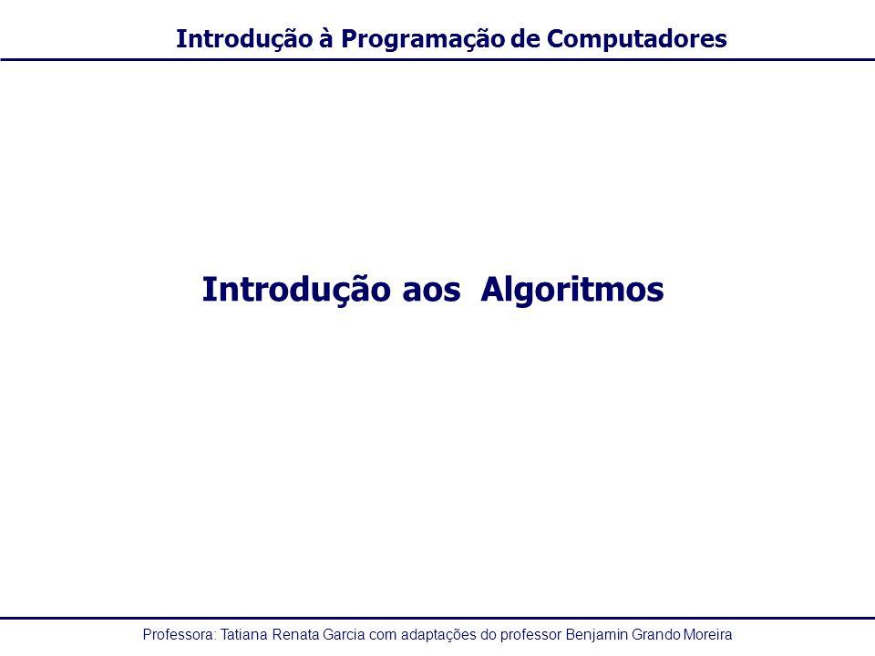 Professora: Tatiana Renata Garcia com adaptações do professor Benjamin Grando Moreira Introdução à Programação de Computadores Identificadores -A sintaxe que vamos adotar segue as seguintes regras para os identificadores: 1.