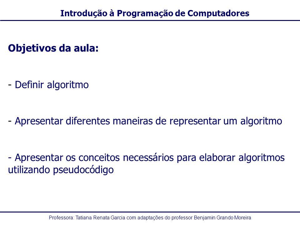 Professora: Tatiana Renata Garcia com adaptações do professor Benjamin Grando Moreira Introdução à Programação de Computadores Exemplo: pot(2,4) <> 4 + 2 ou 2 + 3 * 5/3 mod 5 < 0 16 <> 4 + 2 ou 2 + 3 * 5 / 3 mod 5 < 0 16 <> 4 + 2 ou 2 + 15/3 mod 5 < 0 16 <> 4 + 2 ou 2 + 5 mod 5 < 0 16 <> 4 + 2 ou 2 + 0 < 0 16 <> 6 ou 2 + 0 < 0 16 <> 6 ou 2 < 0 V ou 2 < 0 V ou F V