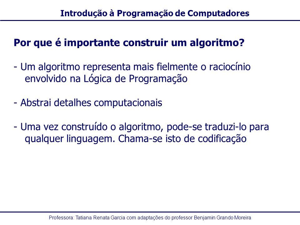 Professora: Tatiana Renata Garcia com adaptações do professor Benjamin Grando Moreira Introdução à Programação de Computadores Operadores Relacionais OperadorFunçãoExemplos =Igual a3 = 3, X = Y >Maior que5 > 4, X > Y <Menor que3 < 6, X < Y, X < 4 >=Maior ou igual a5 >= 3, X >= Y <=Menor ou igual a3 <= 5, X <= Y <>Diferente de8 <> 9, X <> Y