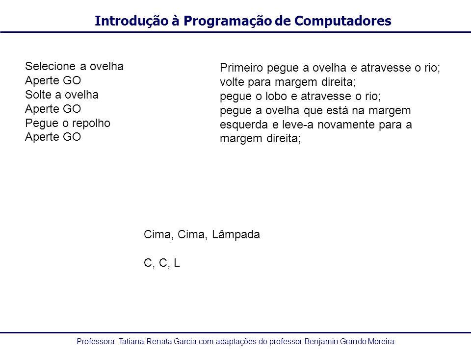 Professora: Tatiana Renata Garcia com adaptações do professor Benjamin Grando Moreira Introdução à Programação de Computadores Caracter -Qualquer informação composta por um conjunto de caracteres alfanuméricos: numéricos (0...9), alfabéticos (A...Z, a...z) e especiais (!, @, #, $, %, <,...) Ex: EMB5013 | UFSC | 1 -Algumas proposições declarativas usando tipo caracter: a)Constava na prova: Use somente caneta!.