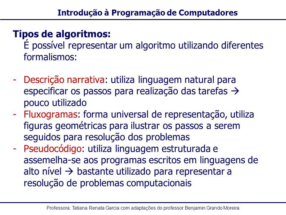 Professora: Tatiana Renata Garcia com adaptações do professor Benjamin Grando Moreira Introdução à Programação de Computadores Tipos de algoritmos: - Descrição narrativa - Fluxogramas - Pseudocódigo