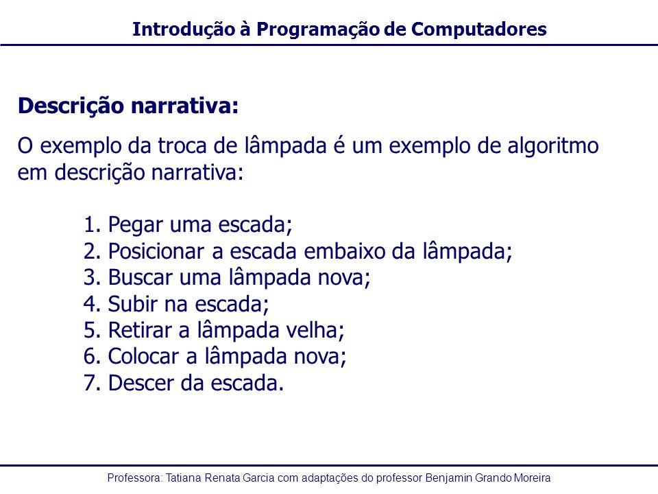 Professora: Tatiana Renata Garcia com adaptações do professor Benjamin Grando Moreira Introdução à Programação de Computadores Operadores Aritméticos -Os operadores aritméticos são utilizados para realizar os cálculos matemáticos OperadorFunçãoExemplos +Adição2 + 3, X + Y -Subtração4 - 2, N – M *Multiplicação3 * 4, A * B /Divisão10 / 2, C / D pot(x,y)Potenciação (x elevado a y)pot(2, 3) rad(x)Raiz quadrada (de x)rad(9) ModResto da divisão9 mod 4 resulta 1 DivQuociente da divisão inteira9 div 4 resulta 2