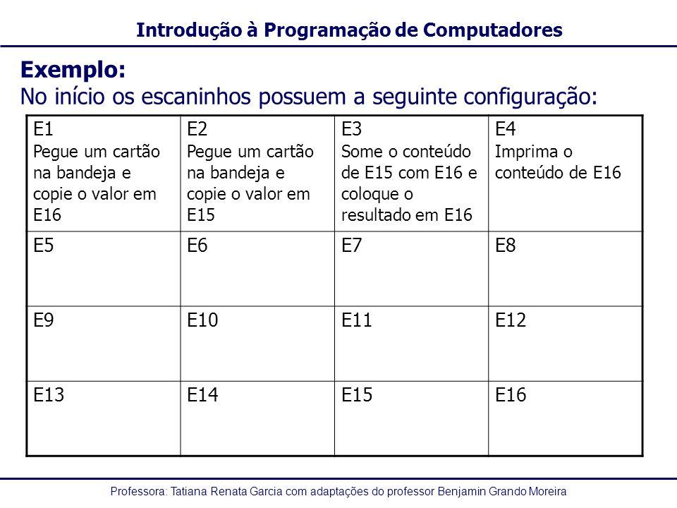 Professora: Tatiana Renata Garcia com adaptações do professor Benjamin Grando Moreira Introdução à Programação de Computadores Exemplo: No início os e