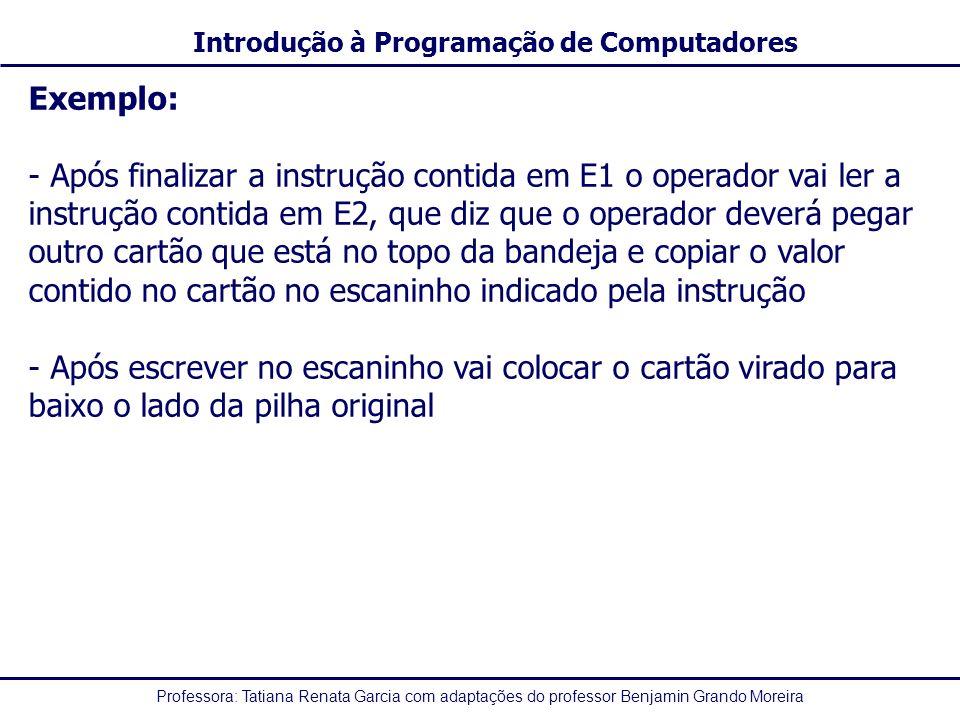 Professora: Tatiana Renata Garcia com adaptações do professor Benjamin Grando Moreira Introdução à Programação de Computadores Exemplo: - Após finaliz
