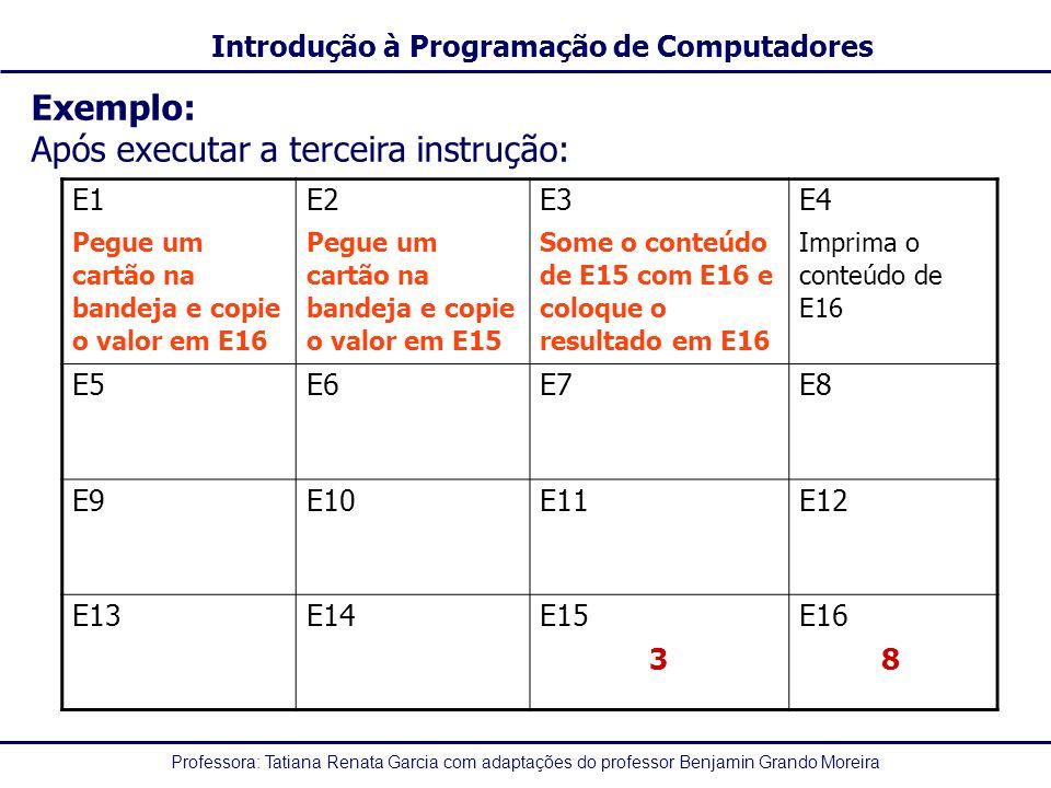 Professora: Tatiana Renata Garcia com adaptações do professor Benjamin Grando Moreira Introdução à Programação de Computadores Exemplo: Após executar a terceira instrução: E1 Pegue um cartão na bandeja e copie o valor em E16 E2 Pegue um cartão na bandeja e copie o valor em E15 E3 Some o conteúdo de E15 com E16 e coloque o resultado em E16 E4 Imprima o conteúdo de E16 E5E6E7E8 E9 E10E11E12 E13E14E15 3 E16 8
