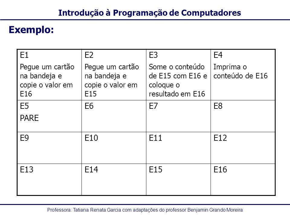 Professora: Tatiana Renata Garcia com adaptações do professor Benjamin Grando Moreira Introdução à Programação de Computadores Exemplo: E1 Pegue um ca