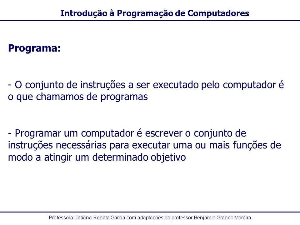 Professora: Tatiana Renata Garcia com adaptações do professor Benjamin Grando Moreira Introdução à Programação de Computadores Programa: - O conjunto de instruções a ser executado pelo computador é o que chamamos de programas - Programar um computador é escrever o conjunto de instruções necessárias para executar uma ou mais funções de modo a atingir um determinado objetivo