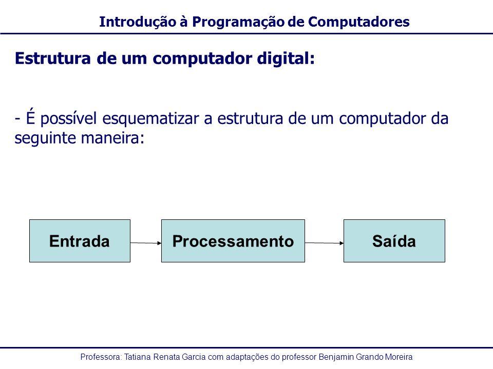 Professora: Tatiana Renata Garcia com adaptações do professor Benjamin Grando Moreira Introdução à Programação de Computadores Estrutura de um computador digital: - É possível esquematizar a estrutura de um computador da seguinte maneira: EntradaProcessamentoSaída