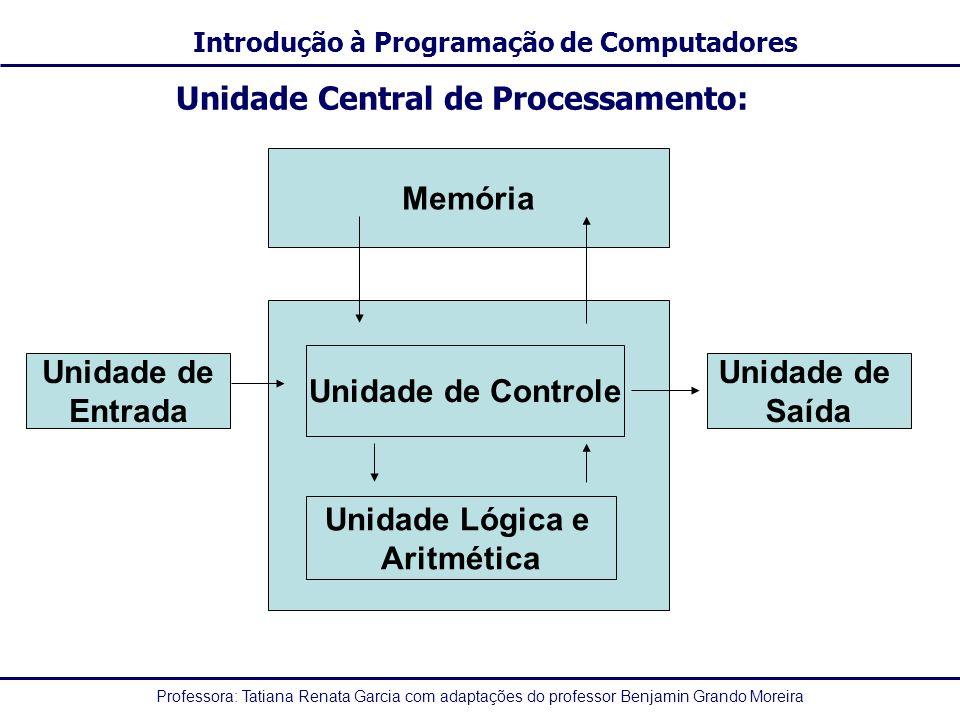Professora: Tatiana Renata Garcia com adaptações do professor Benjamin Grando Moreira Introdução à Programação de Computadores Unidade Central de Proc