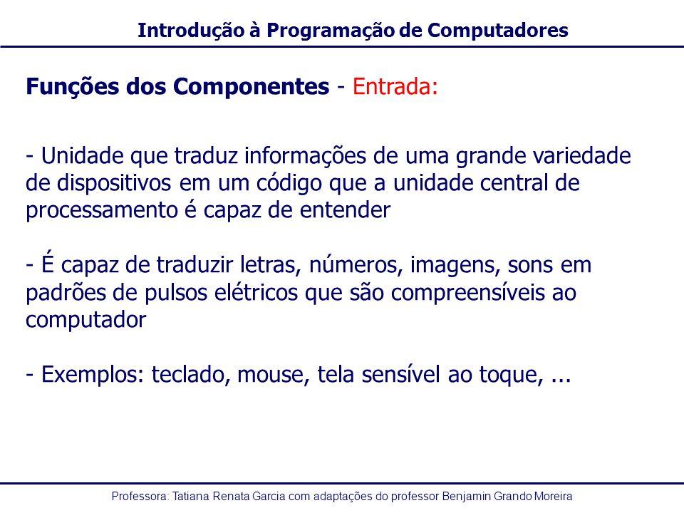 Professora: Tatiana Renata Garcia com adaptações do professor Benjamin Grando Moreira Introdução à Programação de Computadores Funções dos Componentes