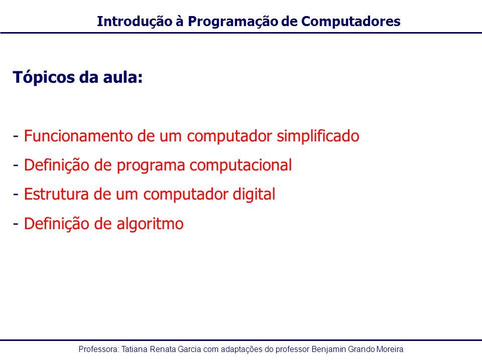 Professora: Tatiana Renata Garcia com adaptações do professor Benjamin Grando Moreira Introdução à Programação de Computadores Tópicos da aula: - Func
