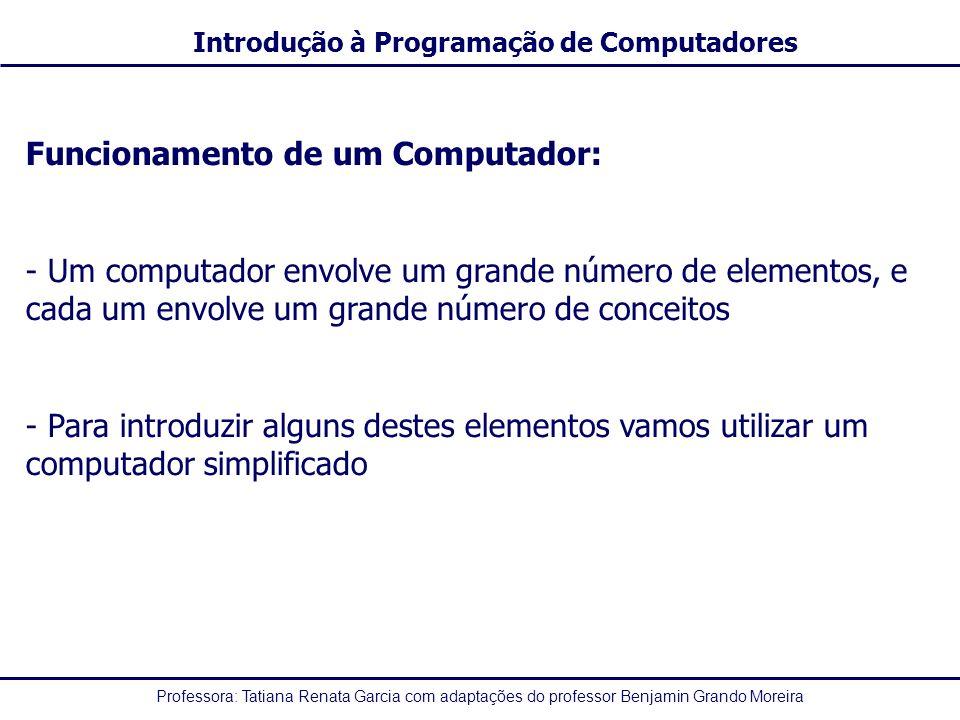 Professora: Tatiana Renata Garcia com adaptações do professor Benjamin Grando Moreira Introdução à Programação de Computadores Funcionamento de um Computador: - Um computador envolve um grande número de elementos, e cada um envolve um grande número de conceitos - Para introduzir alguns destes elementos vamos utilizar um computador simplificado