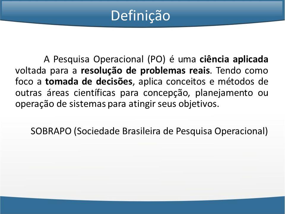A Pesquisa Operacional (PO) é uma ciência aplicada voltada para a resolução de problemas reais. Tendo como foco a tomada de decisões, aplica conceitos