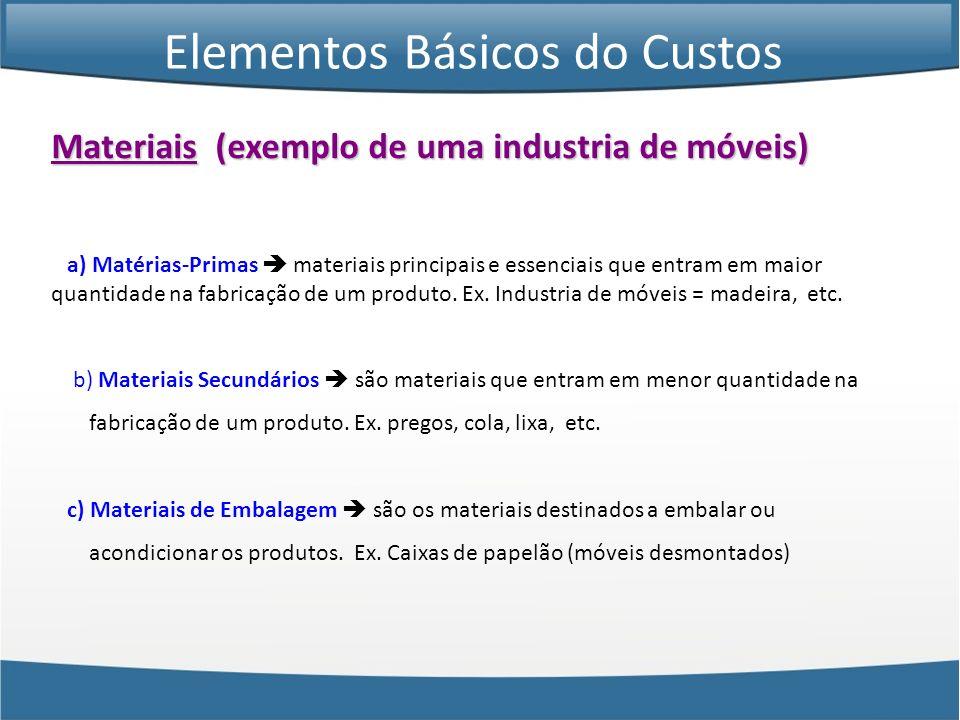 Materiais (exemplo de uma industria de móveis) a) Matérias-Primas materiais principais e essenciais que entram em maior quantidade na fabricação de um
