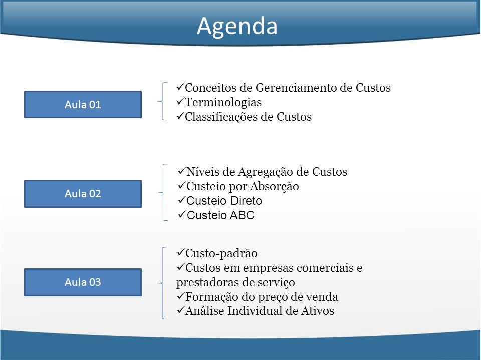 Aula 01 Conceitos de Gerenciamento de Custos Terminologias Classificações de Custos Aula 02 Aula 03 Custo-padrão Custos em empresas comerciais e prest