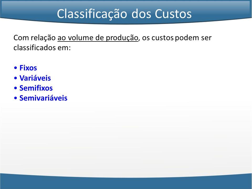 Com relação ao volume de produção, os custos podem ser classificados em: Fixos Variáveis Semifixos Semivariáveis Classificação dos Custos